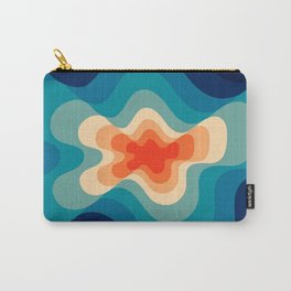 Retro 80s Blue and Orange Mid-Century Minimalist Abstract Art Carry-All Pouch