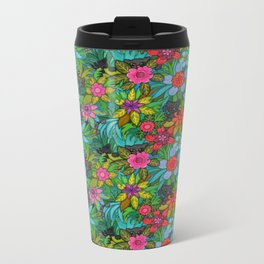 Pattern kitties and flowers Metal Travel Mug
