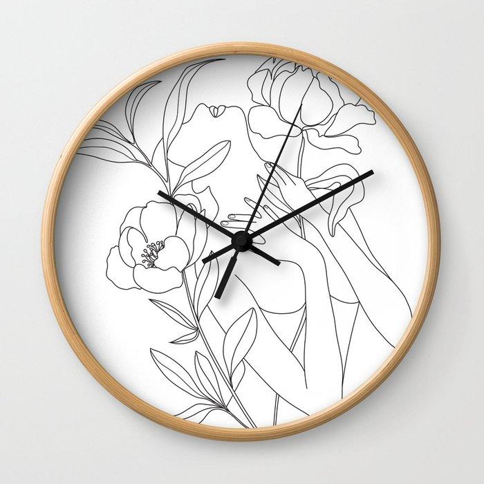 Minimal Line Art Woman with Peonies Wall Clock