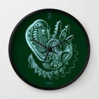 xenomorph Wall Clocks featuring Xenomorph by Jordan Lewerissa