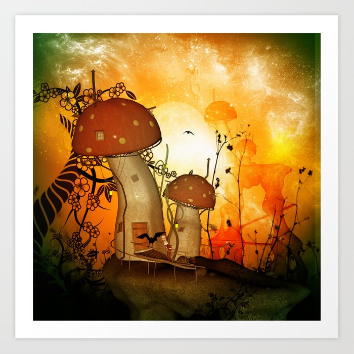 The fairy house in the night Art Print