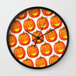 Pumpkin Pattern - White Wall Clock