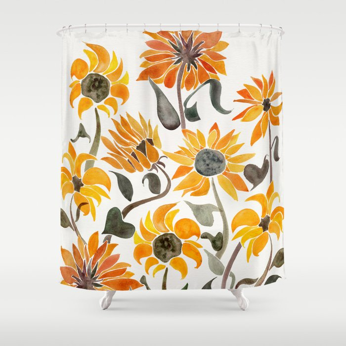 sunflower watercolor yellow black palette shower. Black Bedroom Furniture Sets. Home Design Ideas