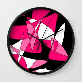 Windy Peaks - Abstract Pinks on Black Wall Clock