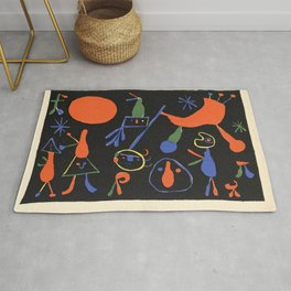 Personnages on Black Ground by Joan Miró Rug