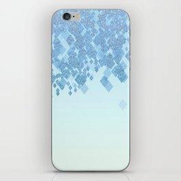 Light Aqua Blue Gradient Faux Glitter Diamonds iPhone Skin