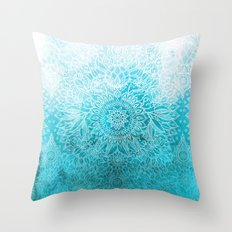 Fade to Teal - watercolor + doodle Throw Pillow