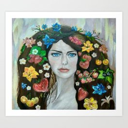 The portrait of the girl (stylized). Oil painting. Art Print