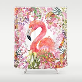 Flamingo in Tropical Flower Jungle Shower Curtain