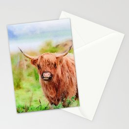 Long haired Highland cattle watercolor Stationery Cards
