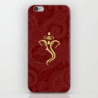 hindu iPhone & iPod Skins featuring Maroon Ganesha - Hindu Elephant Deity by Enduring Moments