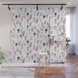 Feathers pattern. Scandinavian design. Light version Wall Mural