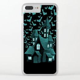 Wrath Blue Halloween Haunted House Bat Flyover Clear iPhone Case