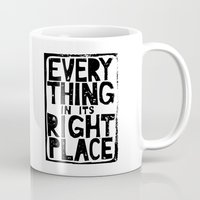 radiohead Mugs featuring Everything in Its Right Place - Radiohead by Bastien13