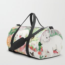 White Cat in a Garden Duffle Bag