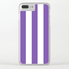 Royal purple - solid color - white vertical lines pattern Clear iPhone Case