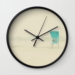 a lifeguard tower sits on a deserted Coronado Island beach on a winters day Wall Clock