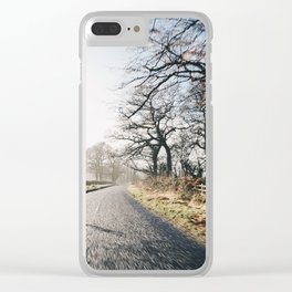 Winter road cycling Clear iPhone Case