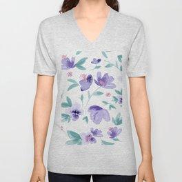 Cute purple flowers pattern Unisex V-Neck