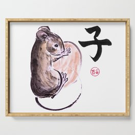 A mouse with a nut and a hieroglyph colored sumie ink painting Serving Tray