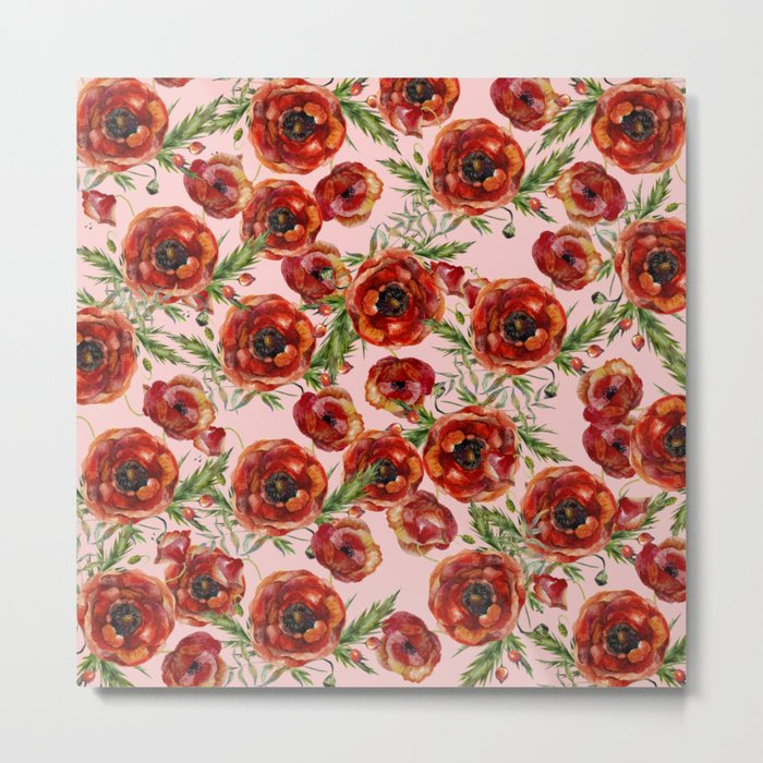 Poppy Pattern On Pink Background Metal Print