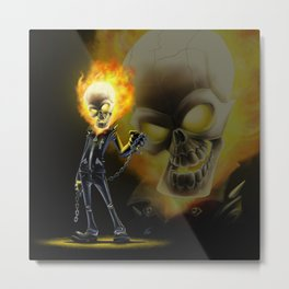 Flaming Skullface v2 Metal Print