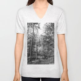 Forest black and white 14 Unisex V-Neck