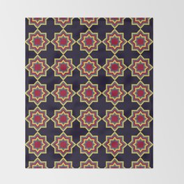 Moroccan Flare Geometric Seamless Pattern Throw Blanket