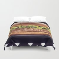 hamburger Duvet Covers featuring Juicy Hamburger by BravuraMedia