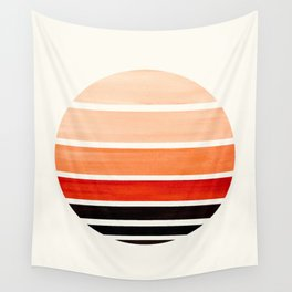 Burnt Sienna Mid Century Modern Minimalist Circle Round Photo Staggered Sunset Geometric Stripe Desi Wall Tapestry