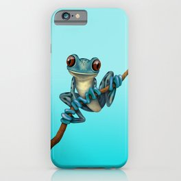 Cute Blue Tree Frog on a Branch iPhone Case