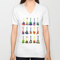 heroes V-neck T-shirts featuring Guitar Heroes  by Jonah Makes Artstuff