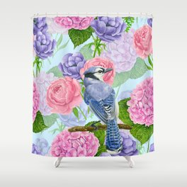 Blue jay and flowers watercolor pattern Shower Curtain