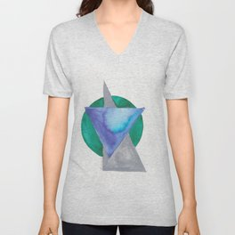 180818 Geometrical Watercolour 3 | Colorful Abstract | Modern Watercolor Art Unisex V-Neck