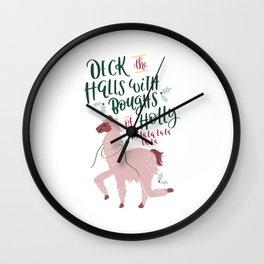 Deck the Llama Halls Wall Clock