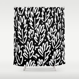 Leafy Doodle in Black Shower Curtain