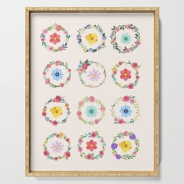 Flower circle border Serving Tray