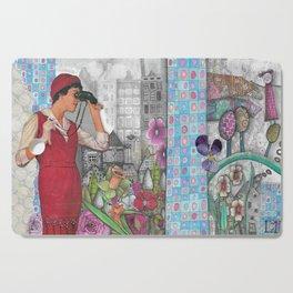"llustration ""Woman with Binoculars"" Cutting Board"
