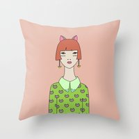 kit king Throw Pillows featuring kit by Sproot