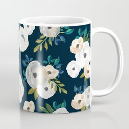 Midnight Florals - Blue & Cream Coffee Mug