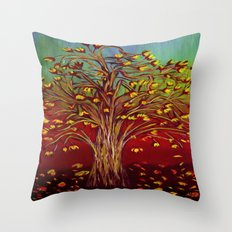 Abstract Fall tree Throw Pillow