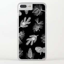 Evergreen drawing (pine cones in black) Clear iPhone Case