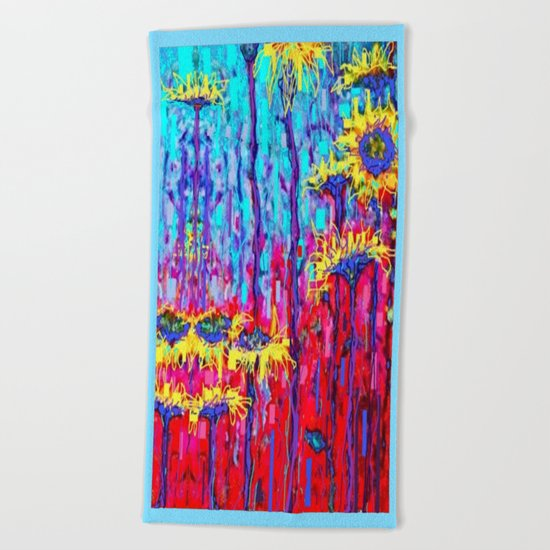 Sunflower Field  in Moonlight Abstract Beach Towel
