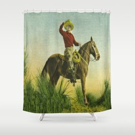 Vintage Western Cowboy On Horse In Grassy Field Shower Curtain