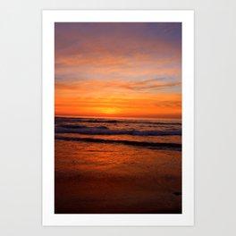 Scripps Pier - Orange Sunset Art Print