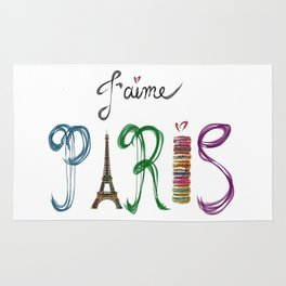 J'aime Paris - Eiffel Tower and Macaron Photograph and Illustration Rug