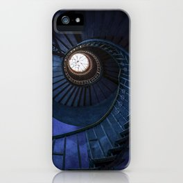 Abandoned blue spiral staircase iPhone Case