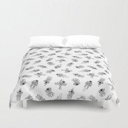 Cosmic Stranger Pattern in Black and White Duvet Cover