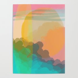Shapes and Layers no.10 - Sun, Waves, Clouds, Sky abstract Poster