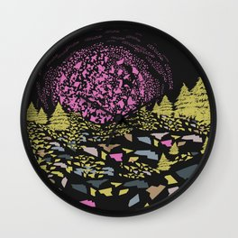 Trippy hills colorful Wall Clock